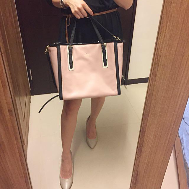 Kate Spade 裸粉色撞色牛皮手提/肩背包 (8成新)