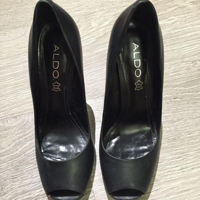 Leather Aldo Peep Toe Heels