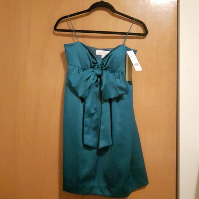 NWT Nicole Miller Strapless Dress W/ Convertible Ribbon Tie.