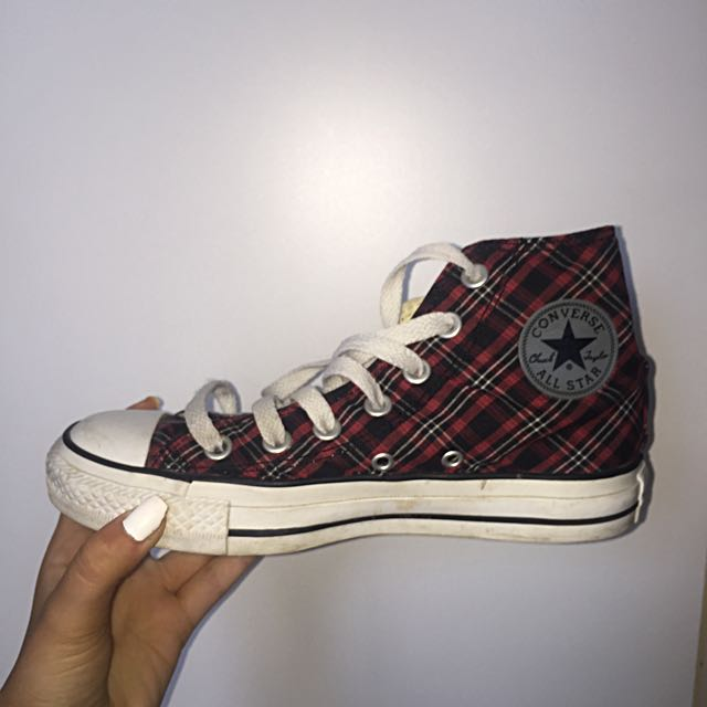 Red And Black Checkered High Top Converse