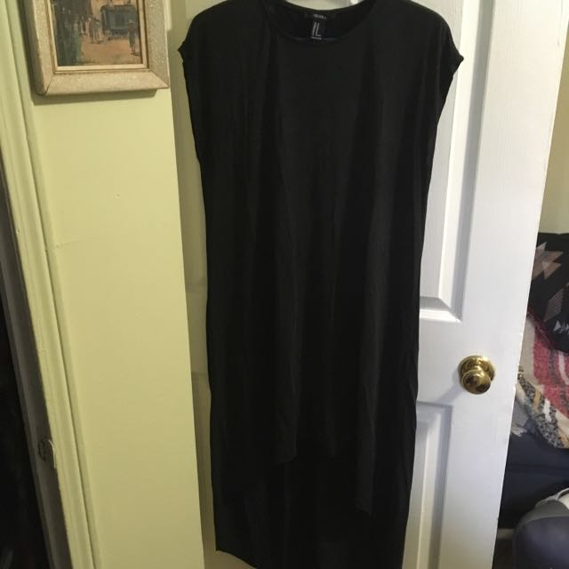Smooth Black High Low Dress