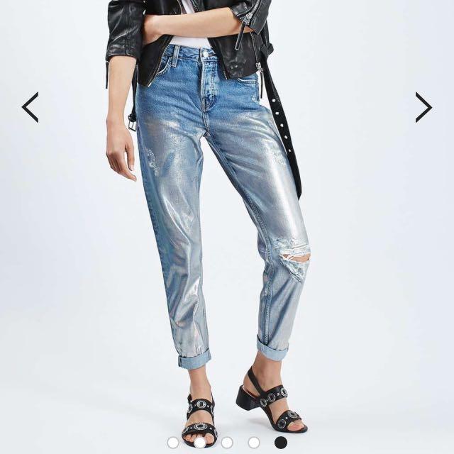 "Topshop Current Season Hayden Loose Fit Metallic Jeans Size L32"""