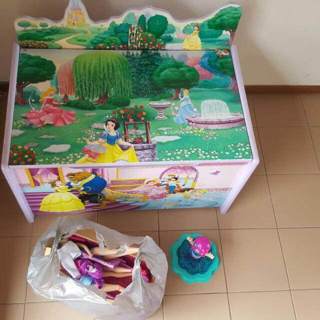Toybox Full Of Barbies And Clothes With Dolls Furniture