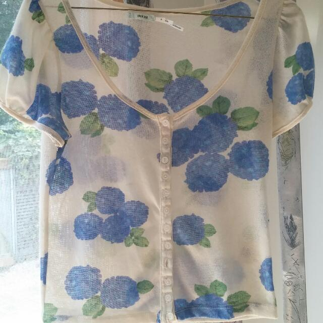 UO Floral Button Up Crop Top