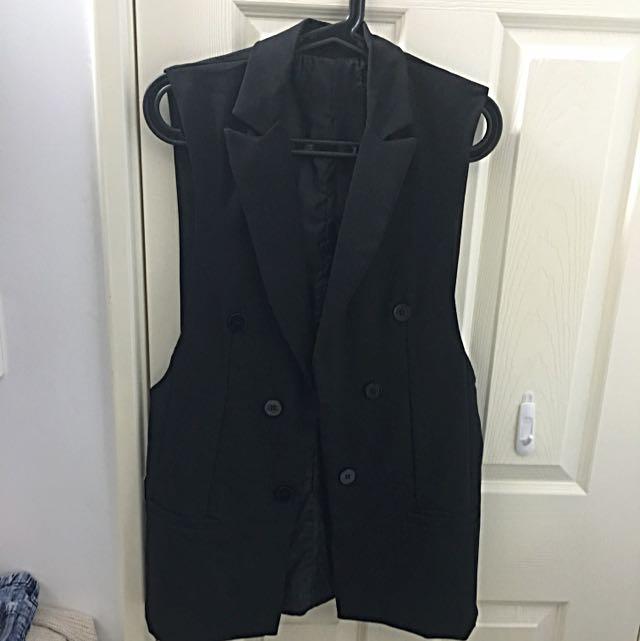 Vest Waistcoat Black Long Suit