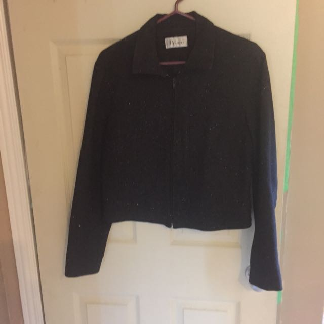 Waist-Length Black Sparkle Jacket L