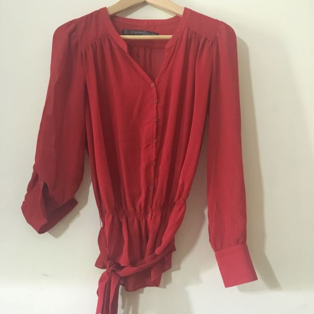 ZARA TRF Red Chiffon Top