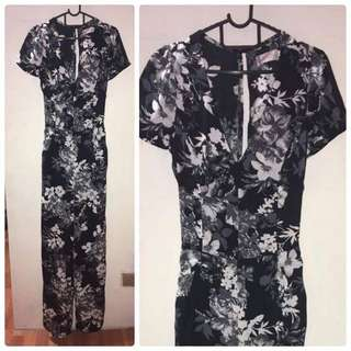 Black and white Floral Jumpsuit-RESERVED