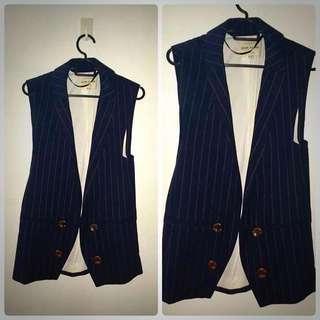 Navy Blue Sleeveless Tailored Jacket