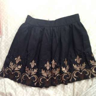 Embellished Black F21 Skirt