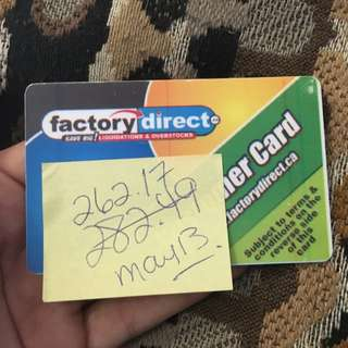 Factory Direct Gift Card $260