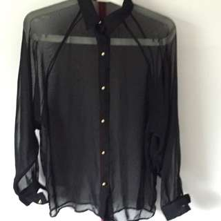 ⭐️Zara Black See Through Shirt W/ Gold Buttons⭐️