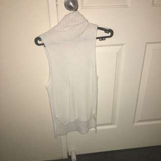 White Turtle Neck Sleeveless Top