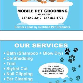 Mobile pet Grooming GTA