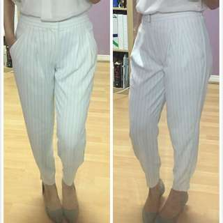 Uniqlo White Striped Loose Jogger Pants Size S