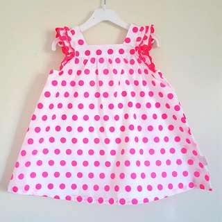 (Reserved) Neon Pink Polka Dot Dress (3-6mos)
