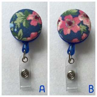 Fabric Button ID Badge Retractable Reel - Floral Series