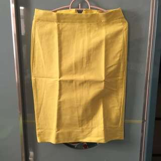(PRELOVED) J.Crew No.2 Pencil Skirt Yellow Size 0