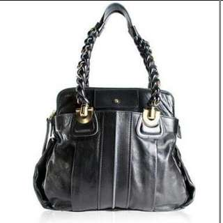 Black Leather Authentic Chloe Heloise Bag Handbag