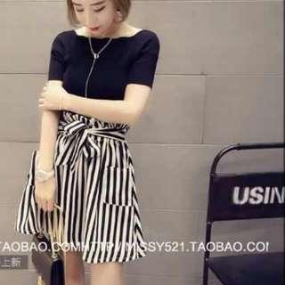新款時尚修身顯瘦短袖上衣高腰條紋半身裙兩件套