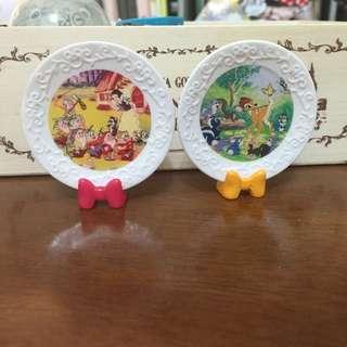 超可愛絕版迪士尼食玩盒玩 食器 白雪公主 小鹿斑比 盤子組