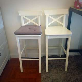 白色木高腳凳連靠背(每張) / White Wooden Bar stool with backrest, With Free Seat Cushion (each Chair)