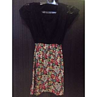 mini dress brukat + flower