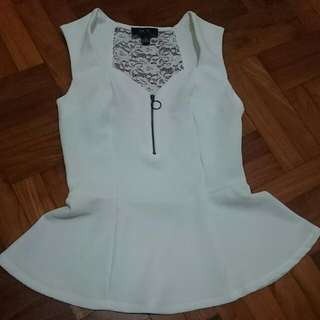 White Peplum Lace Top BNWT