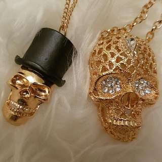 Set Of 2 Brand New Gold Skull Necklace