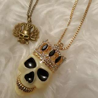Set Of 2 Brand New Skull Necklace