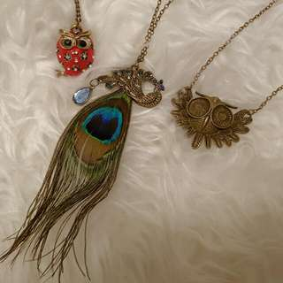 Set Of 3 Brand New Owl And Peacock Necklaces