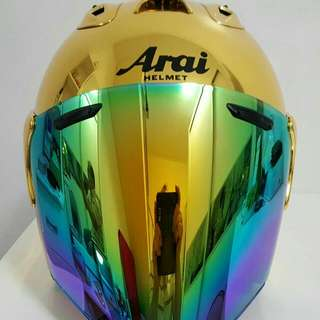 Helmet arai & shoei in chrome gold or chrome red new 2016