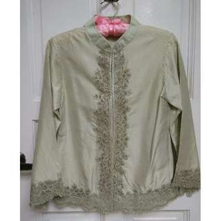 Bell Sleeve Mandarin Collar Silk Blouse S