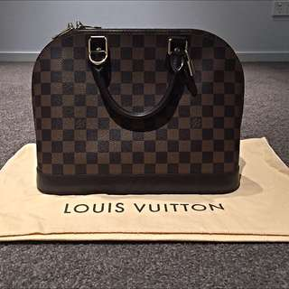 Authentic Louis Vuitton 2014 Damier Ebene Alma PM Bag