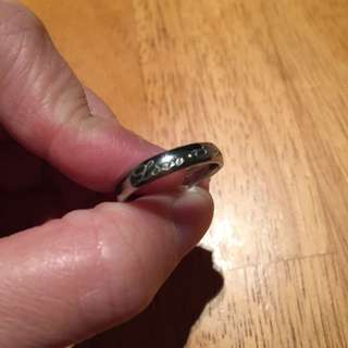 Silver Colour Wedding Band With Engraved Love Forever On It
