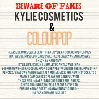 Kylie Cosmetics & Colourpop Fakes