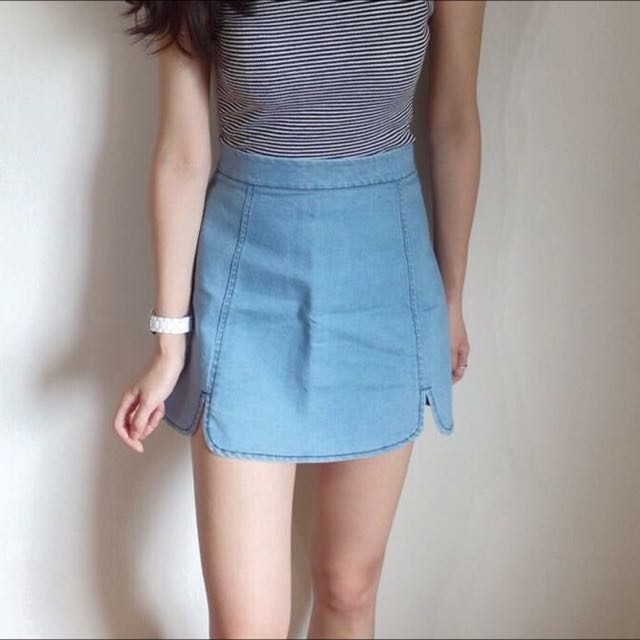 牛仔花瓣包臀窄裙-3色
