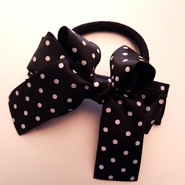 ★黑底白點—氣質蝴蝶結髮飾★可議價