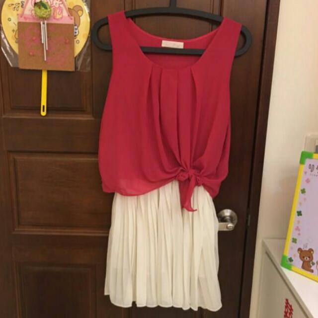 (免運)桃紅雪紡腰綁帶洋裝
