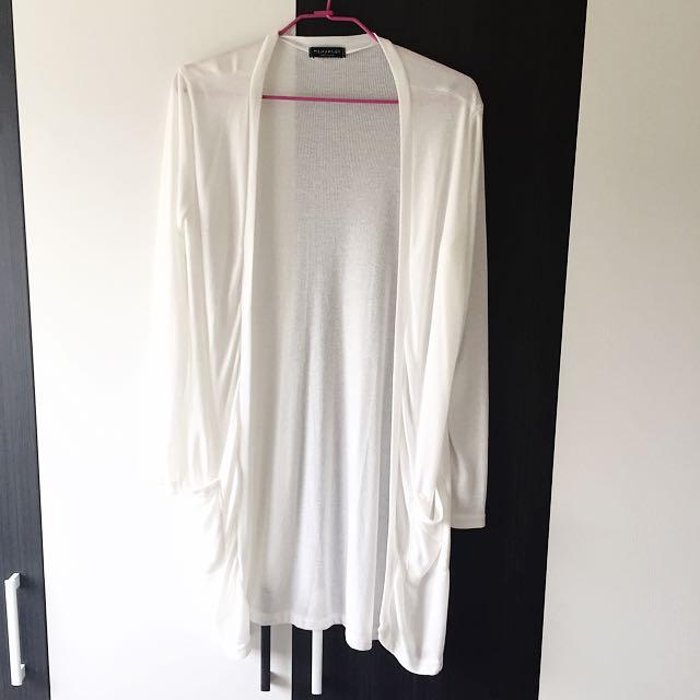 韓版白色長版外套