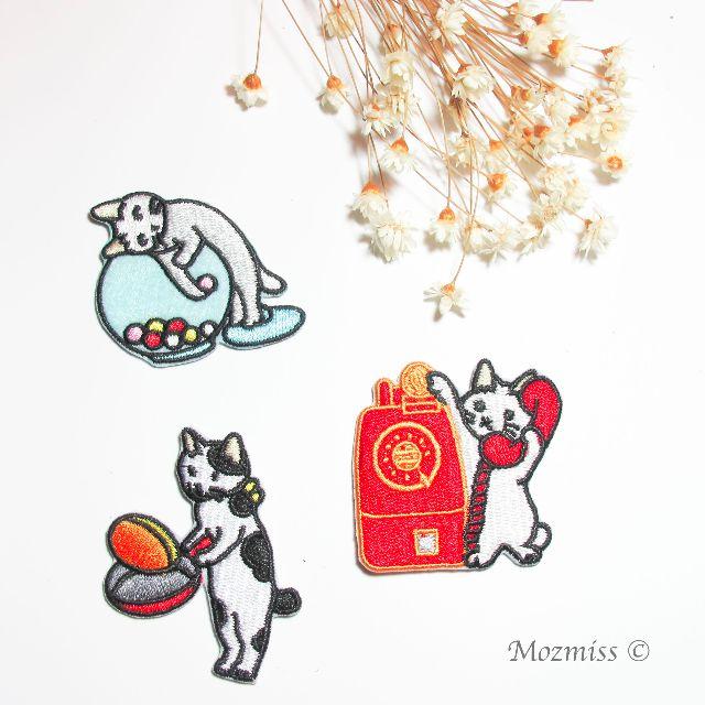|刺繡小布貼|慵懶小貓咪們 - 偷糖 / 打電話 / 煮食/下棋/三花貓