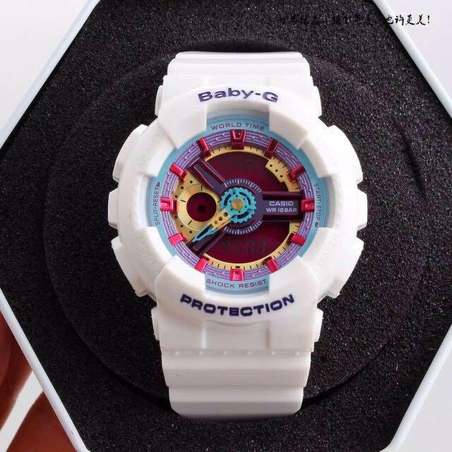 原單品質 小秒可走 配送專櫃包裝手提袋。秉承Baby-G不斷進化,追求強韌的理念。GA-110GB則是以層次感的款式,並配備1/1000秒的秒錶計速功能。防震 防磁 50M防水 世界48个城市時間 倒計時 鬧鐘 間歇响報 品質如一 錶徑36mm。