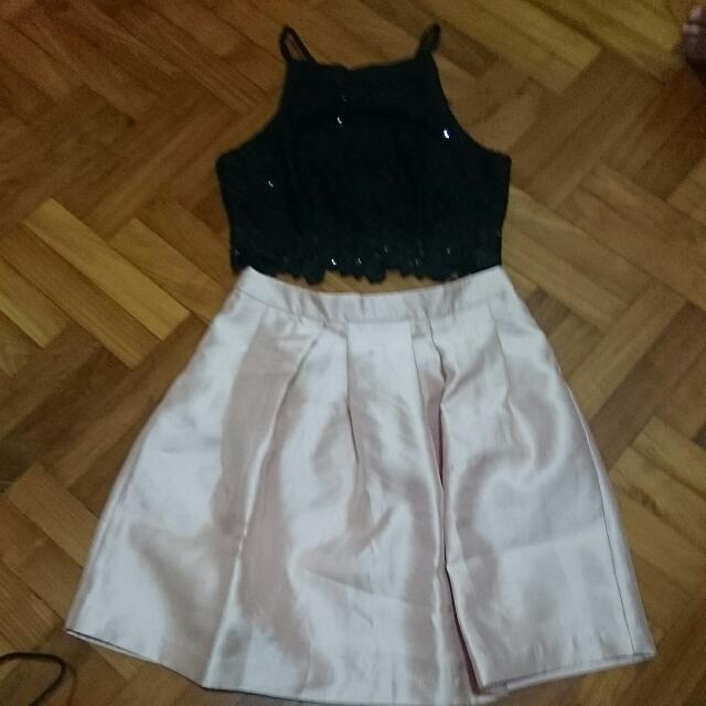 Black Crop Sequins Top with Cream Skirt Set