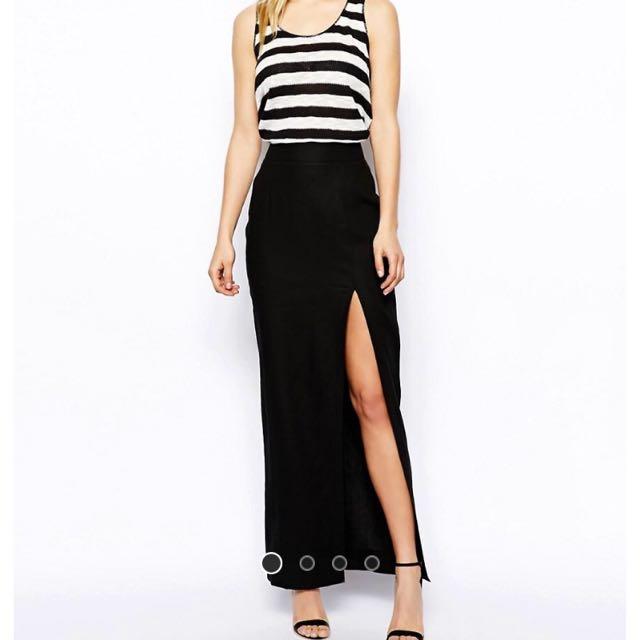6068d605df0 Bnwt Asos Maxi Skirt In Linen UK4