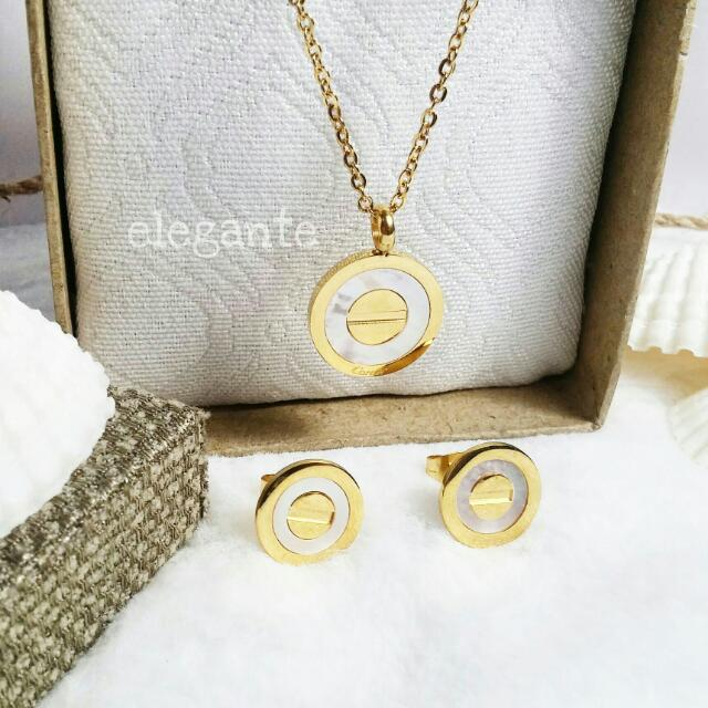 Cartier Inspired Mother Pearl Set