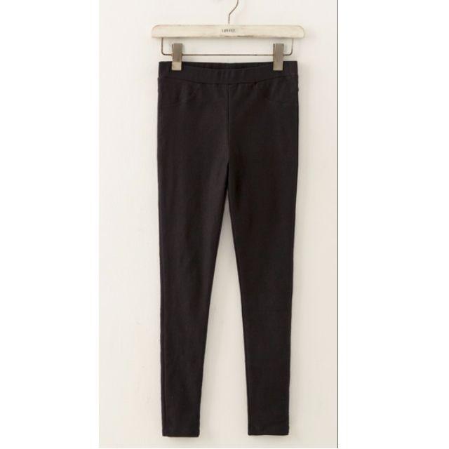 Lovfee MIT 簡約純色系修身鬆緊彈力褲