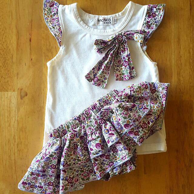 (Reserved) Matching Floral Top & Skirt (3-6mos)