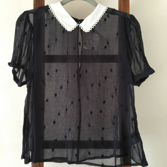Navy Dot And Collar Blouse