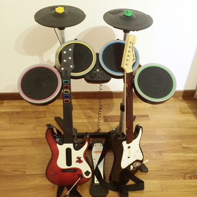 PS3 Rockband Drums Guitars Mics And Games!, Toys & Games