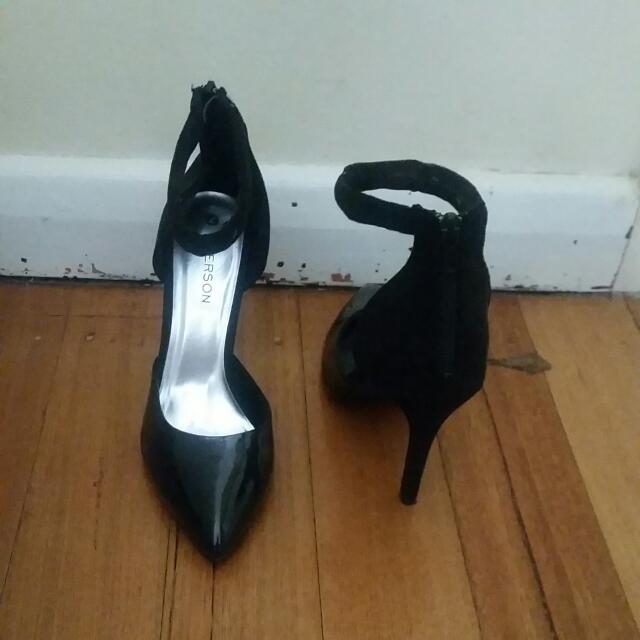 Size 7,  Stiletto Heels with Strap Around Ankle
